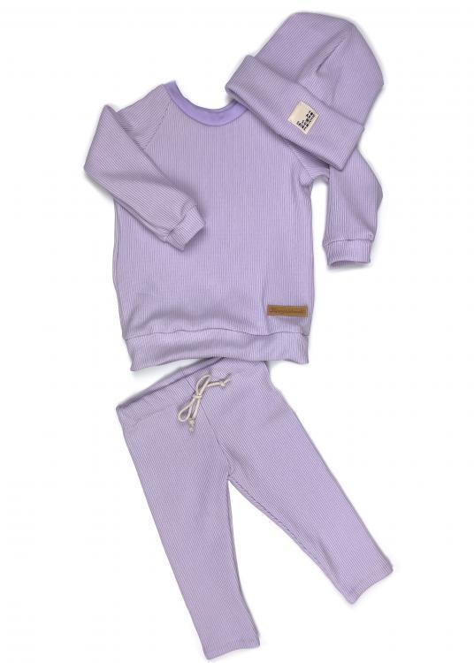 Outfit Rib Lavendel Dove Shirt + Leggings + Beanie