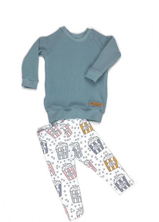 Outfit Rib darkmint & Popcorn, Shirt + Leggings