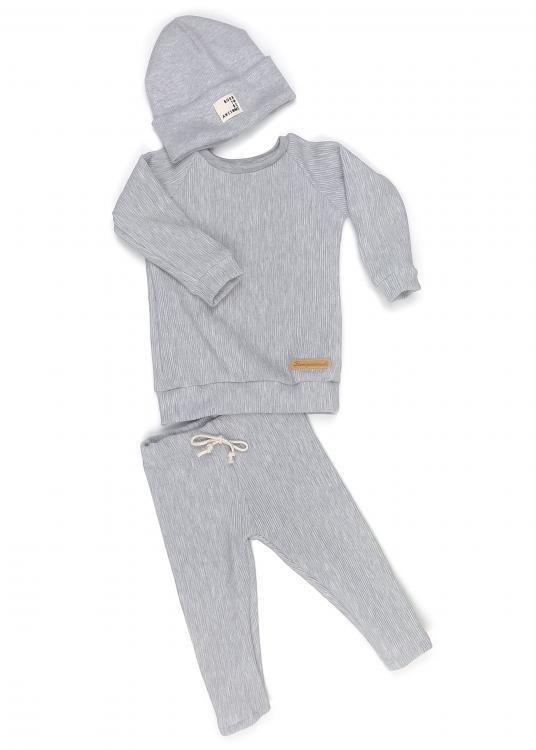 Outfit Rib hellgrau meliert, Shirt + Leggings + Beanie